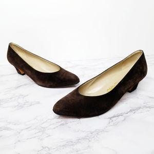 Salvatore Ferragamo | Dark Brown Suede Low Heels